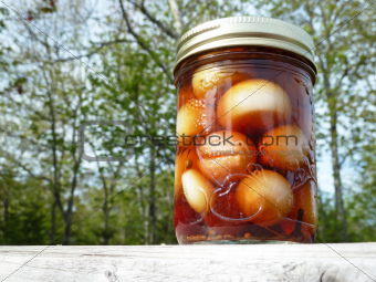 Jar on wood outside