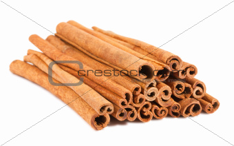 Cinnamon sticks on a white background