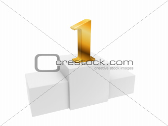 golden number 1 on podium