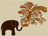 Elephant with Floral Pattern Coming from His Trunk