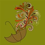 Vector Autumn  Weather Concept with Umbrella and Floral Pattern