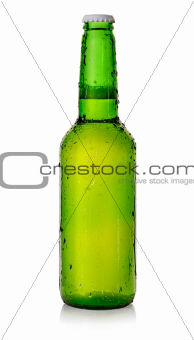 Beer in a green bottle
