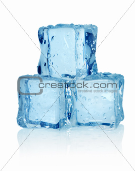 Three ice cubes isolated