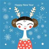 Winter greeting card with a girl