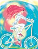 The girl and a bicycle