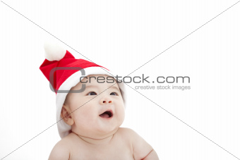 sweet baby in christmas hat