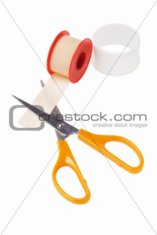 Medical Sticking Plaster and cutting scissors