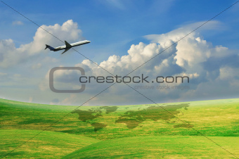 Airplane flying with blue sky