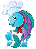 Cartoon fish chef