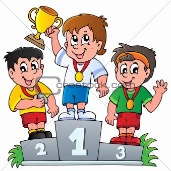 Cartoon winners podium