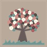 Vector fabric tree with buttons treetop