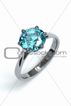 Isolated Silver Ring with aquamarin