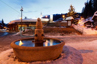Fountain and Christmas Tree in Megeve At Morning, French Alps