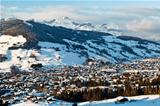 View from Above on Mountain Village of Megeve, French Alps