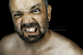 angry man with beard