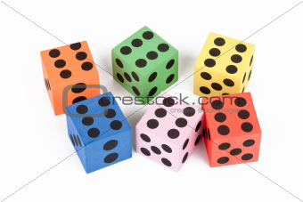 Colorful foam dice
