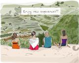 Hand drawn girls enjoying nature.