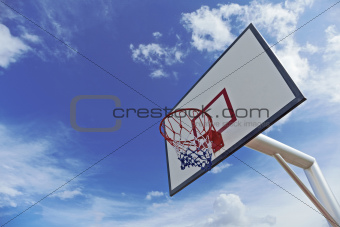 Basket ball hoop with blue sky