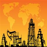 Orange World Map, Oil rig and oil pump. Vector illustration.