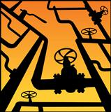 Industrial zone, Steel pipelines and valves over sunset. Vector illustration
