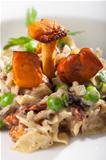 closeup of chanterelle pasta