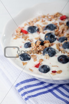 bowl of muesli with yoghurt