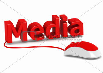 Red mouse with rendered word