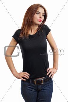 Sexy brunette wearing blank black shirt