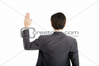 rear view businessman swearing