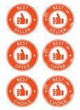 Best seller, choice, offer retro grunge badges
