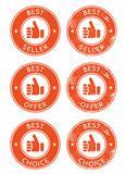 Best seller, choice, offer retro grunge badges