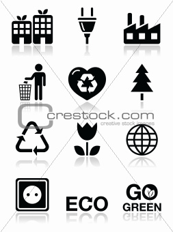 Green ecology black clean icons set