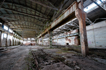 Old and deserted plant interior