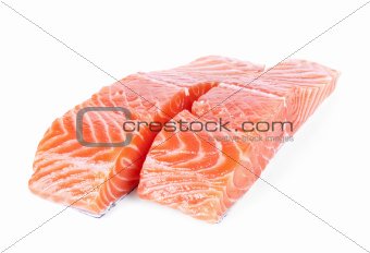 two slices salmon fillet isolated on white