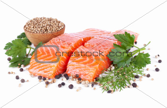 two slices trout fillet whith spices isolated on white