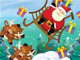 The santa claus flying with the sack full of presents - gifts - happy reindeer