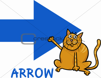 arrow shape with cartoon cat