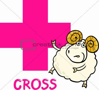 cross shape with cartoon ram
