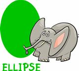 ellipse shape with cartoon elephant