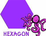 hexagon shape with cartoon octopus