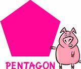 pentagon shape with cartoon pig