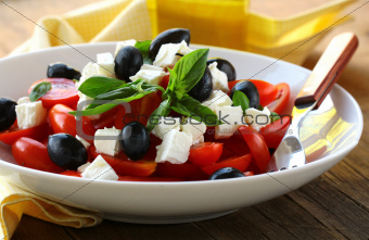 Greek style salad with feta cheese and olives
