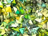 3d abstract fragmented pattern green yellow backdrop