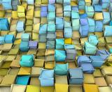 abstract 3d shape backdrop in yellow and blue 