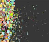 abstract fragmented pattern in rainbow color backdrop