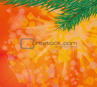 Christmas colored background with green tree branches