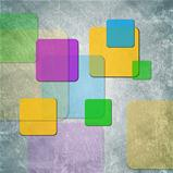 Colorful squares on grunge backdrop