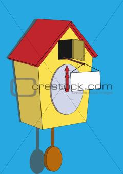 cuckoo clock with a sign.jpg