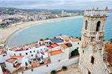 View from the fortness to the Peniscola town in Spain.