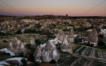 Goreme view over fields during sunset